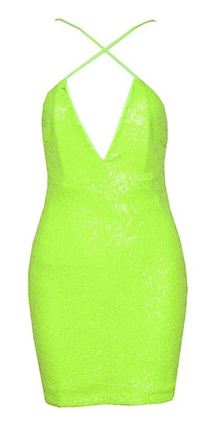 Lima Sequined Mini Dress - Acid Green