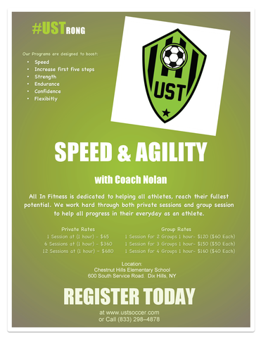 SPEED & AGILITY - 1 SESSION (1 HOUR) FOR 4 GROUPS - CREDIT CARD REQUIRED
