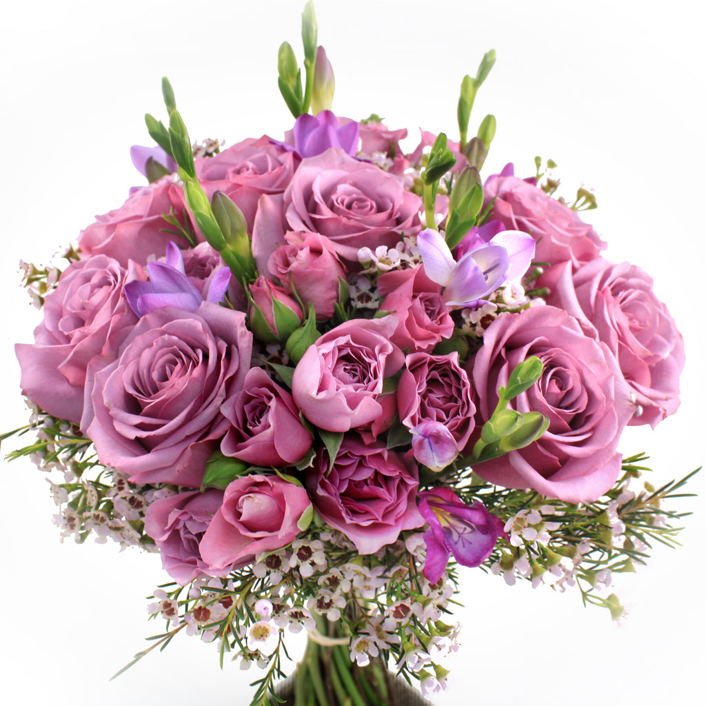 Deep Purple Rose with Freesia Bouquet