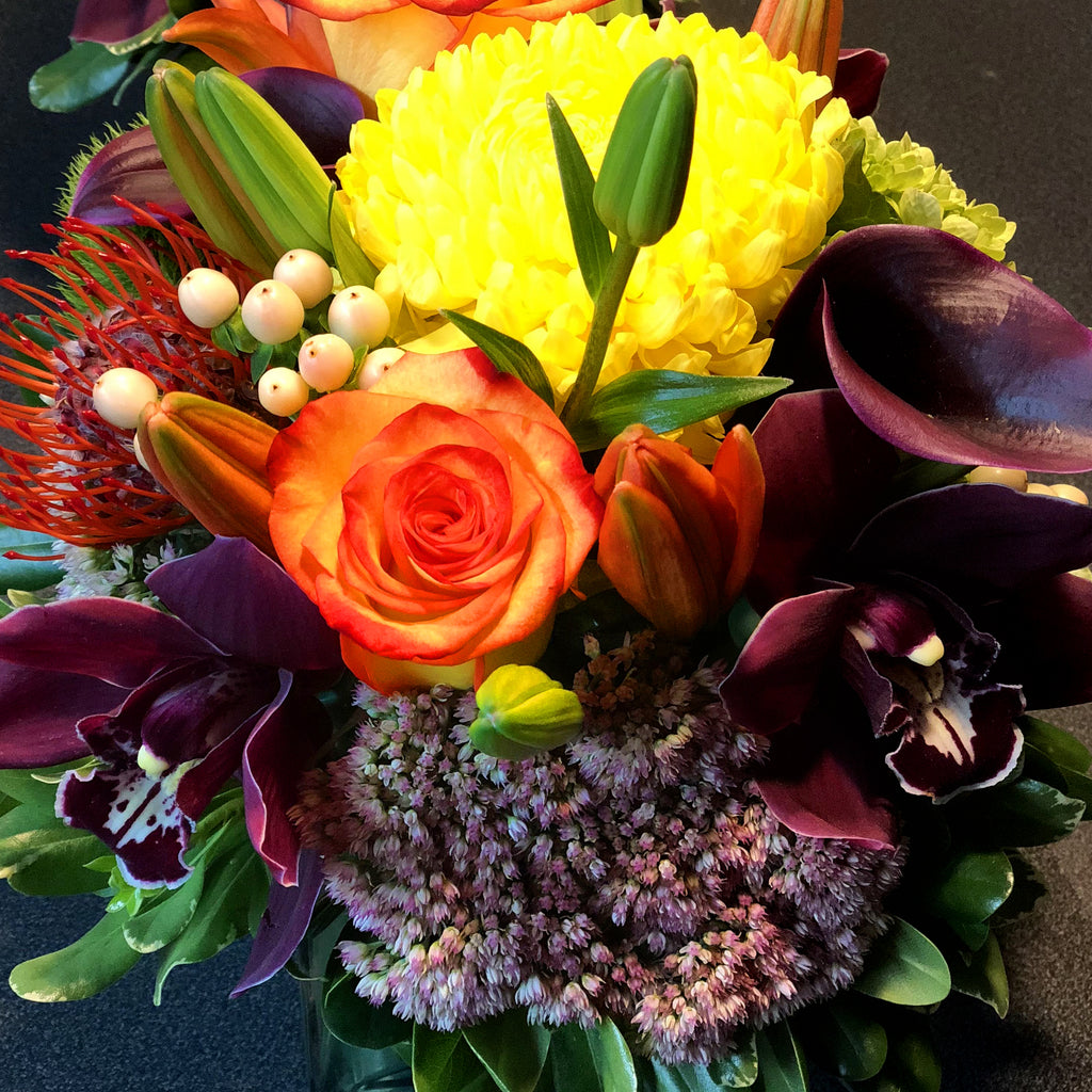 Orange, Purple, and Yellow Exotic Centrepiece