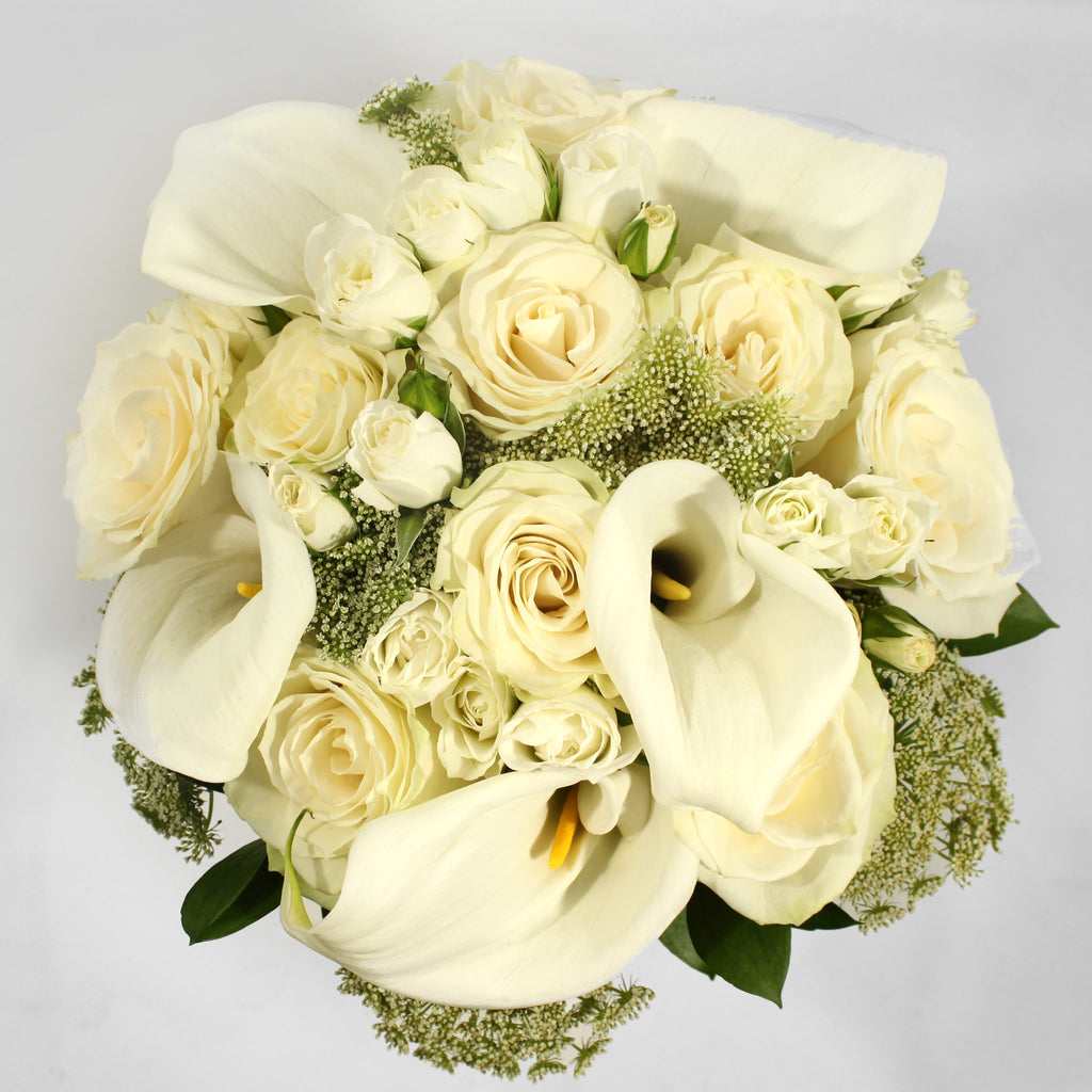White Roses with Cala Lily Bouquet