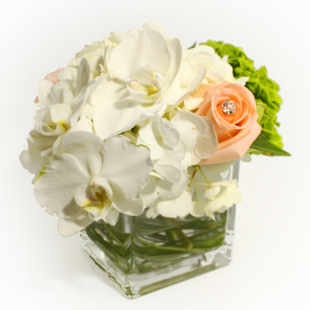 White & Green Bouquet with Pink Touch