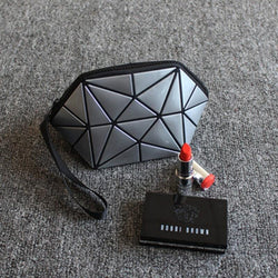 Geometric Zipper Cosmetic Bag Women Luminous Makeup Bag