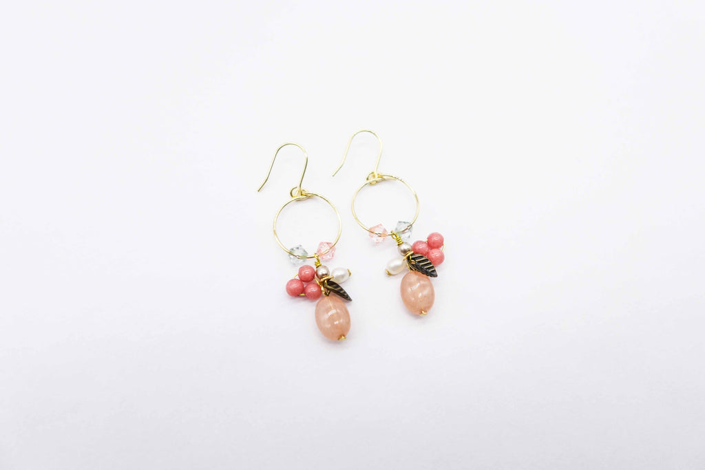 arionjewelry gemstone dangling earrings rose colored pearls