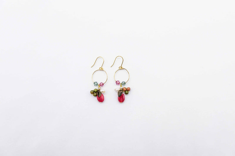 arion jewellry red gem stone earrings pearls