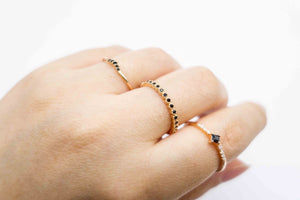 Arionjewelry rosegold black stone rings