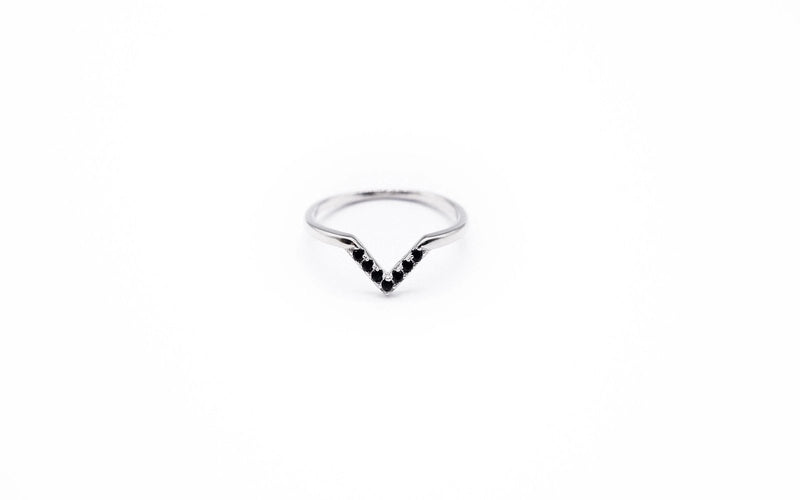 arion sterling silver ring with black cubic zirconia