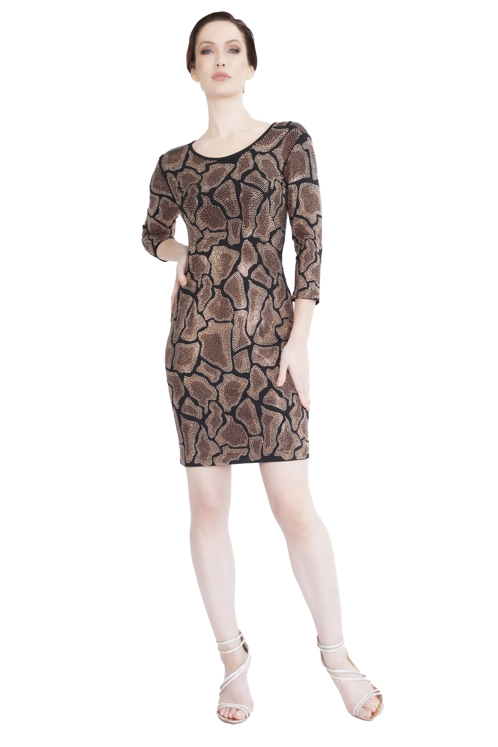 Giraffe 3/4 Sleeve Cocktail Dress - W1500303