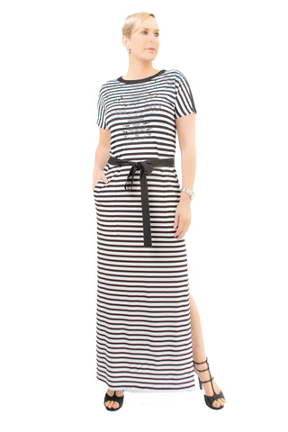 Pave Crystal Striped Mock Neck - W550312