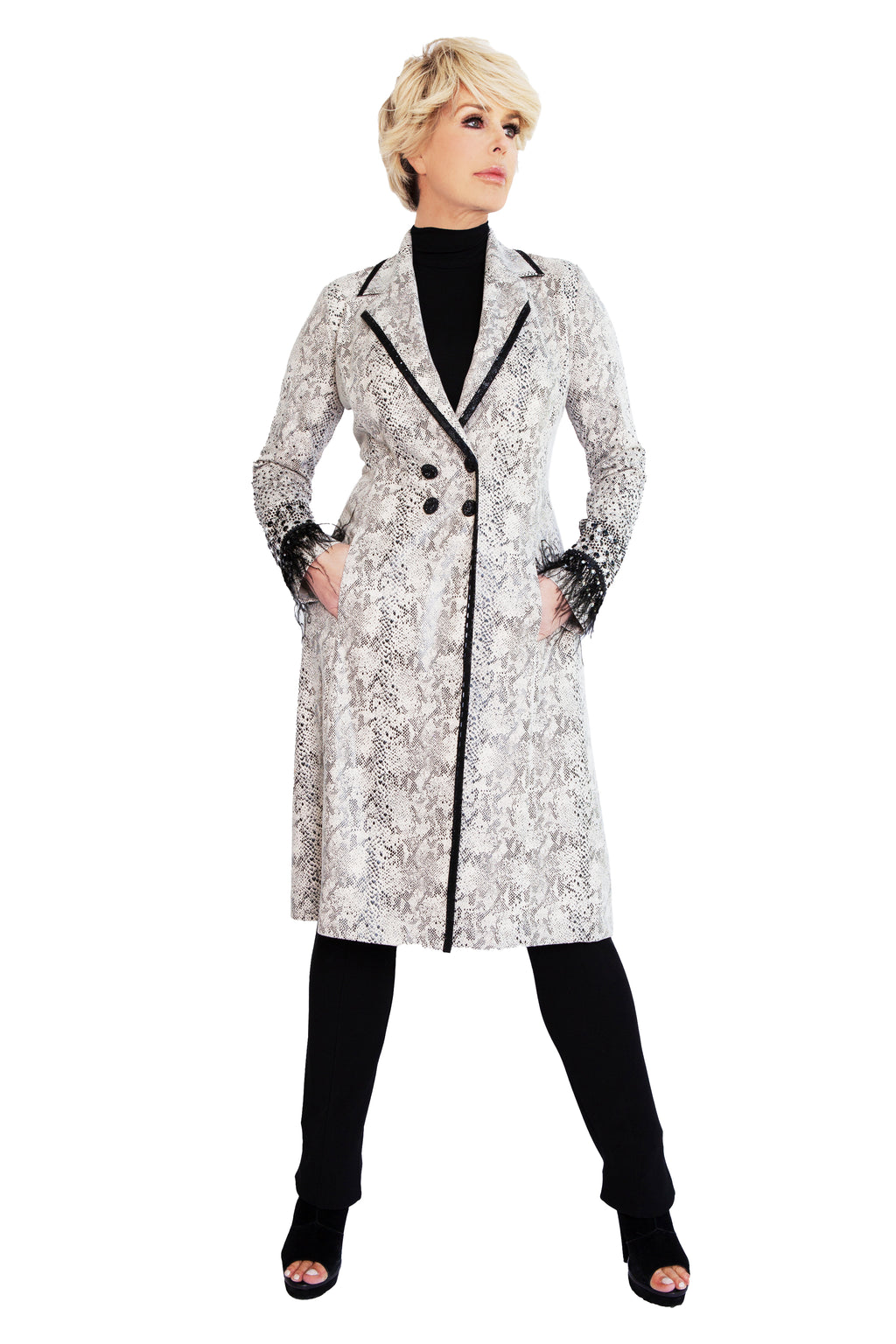 Jeweled Snake Feather Duster Coat - W9500901
