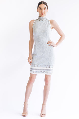 Pointelle Pearl Mesh Shoulder 3/4 Sleeve Cocktail Dress - W1480602