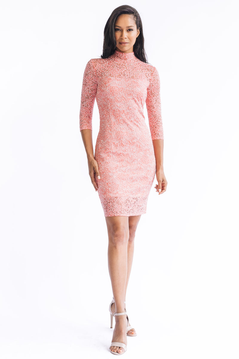 Diamond Pearl Mock Neck Dress - W1480308