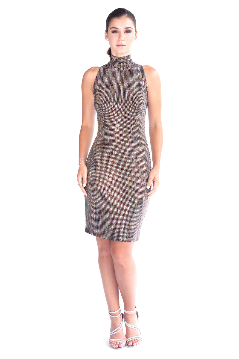 Metallic Chainmail Halter Dress - W1491010