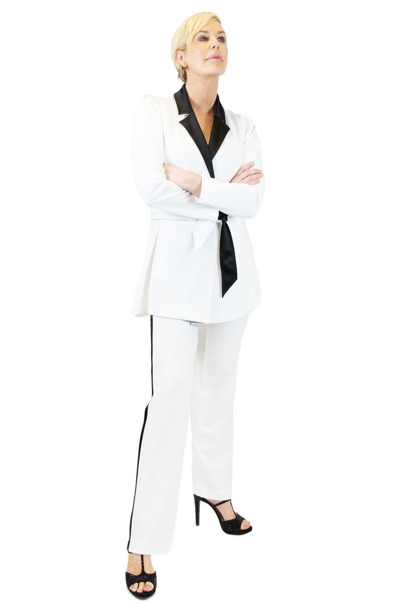 Viscose Stretch Wrap Tie Jacket - W2500316