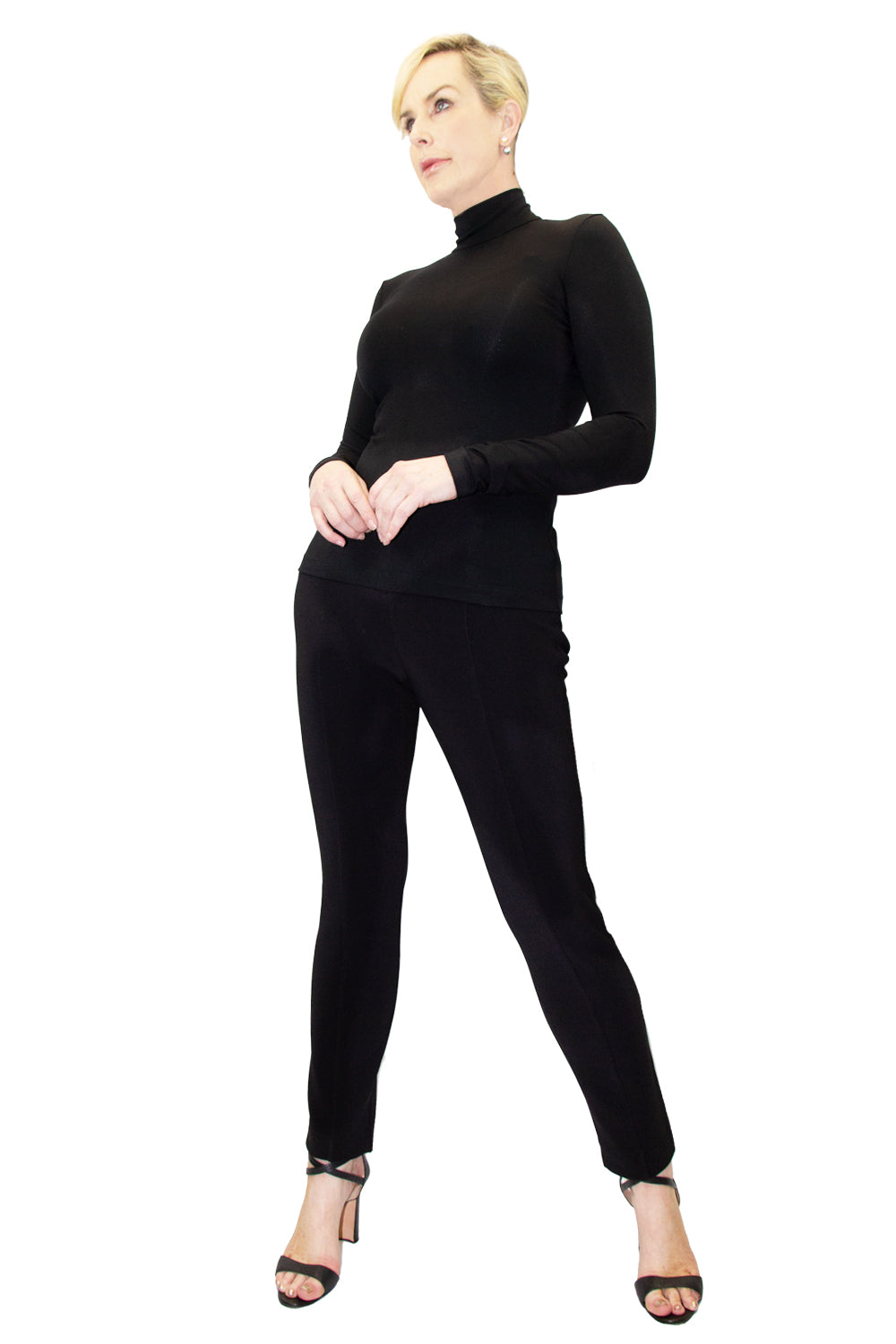 Modal Long Sleeve Zip Mock Neck - W5480306
