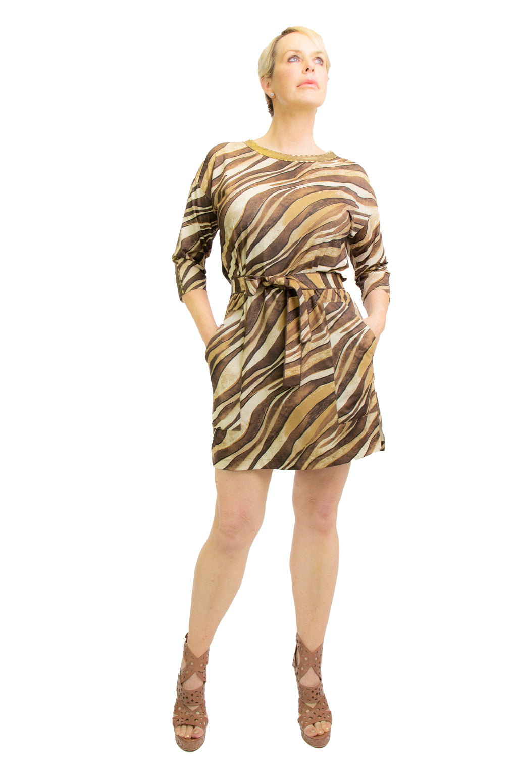 Golden Tigress Wrap-Tie Dress - W1501203