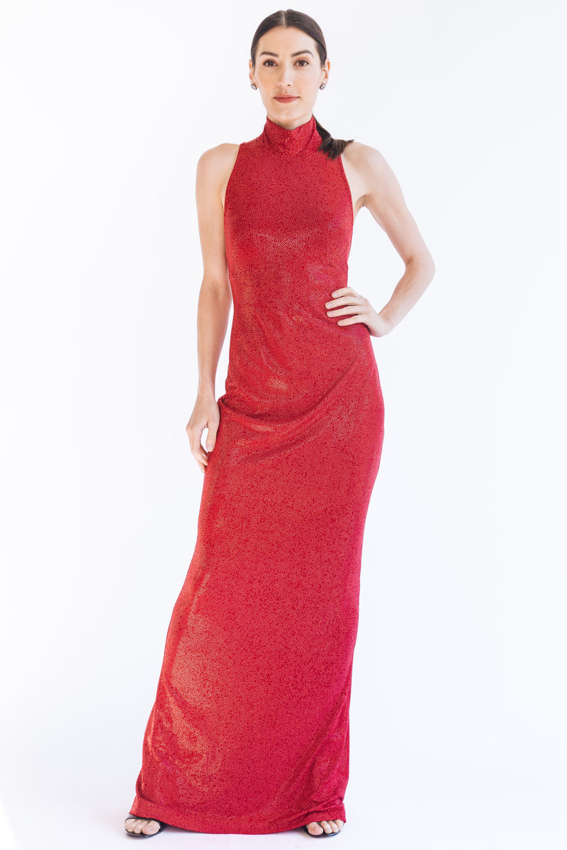Crystal Fire Halter Gown - W1480108