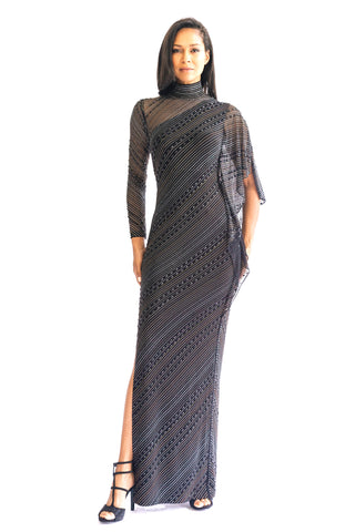 Metallic Chevron Cocktail Dress - W1490905