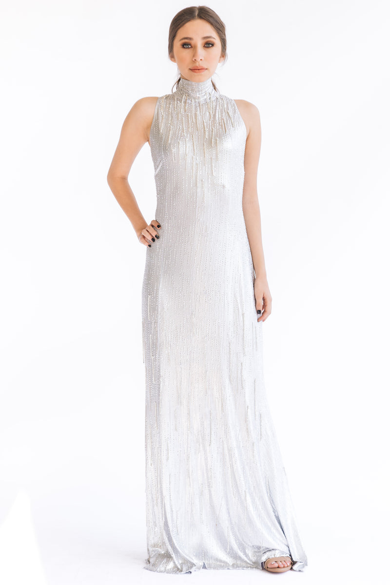 Crystal Fringe Gown - W1491106