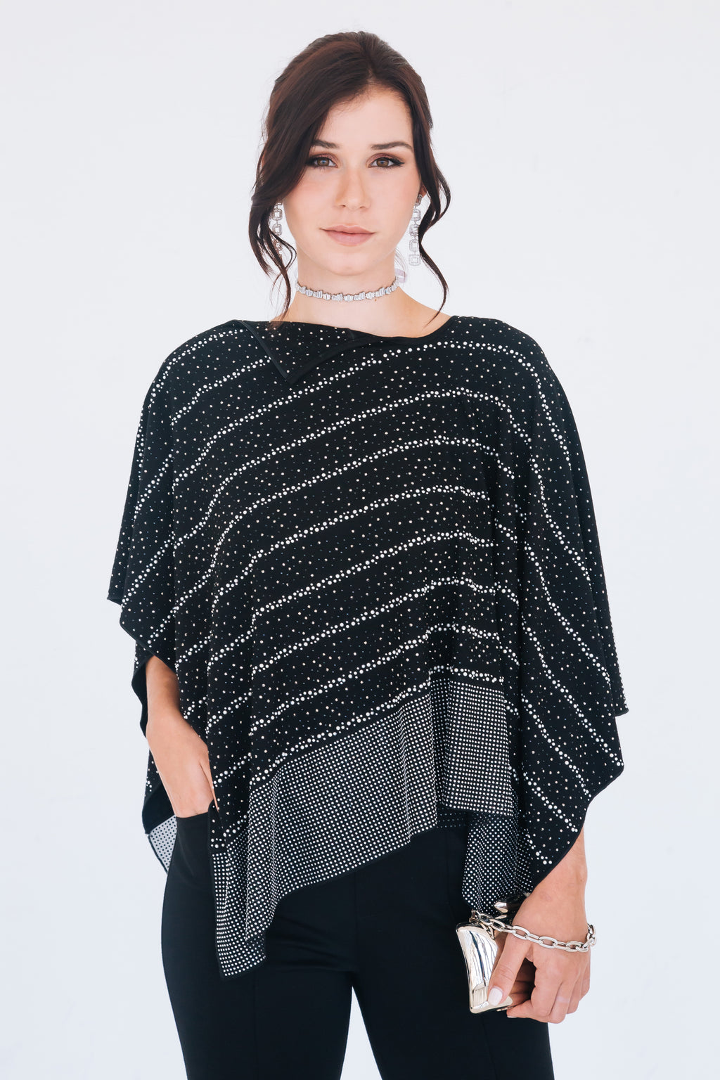 Crystal Pearl Zip Poncho - W6480301