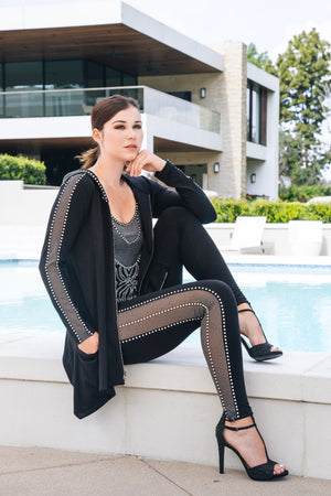 Pointelle Pearl Mesh Leggings - W4480601