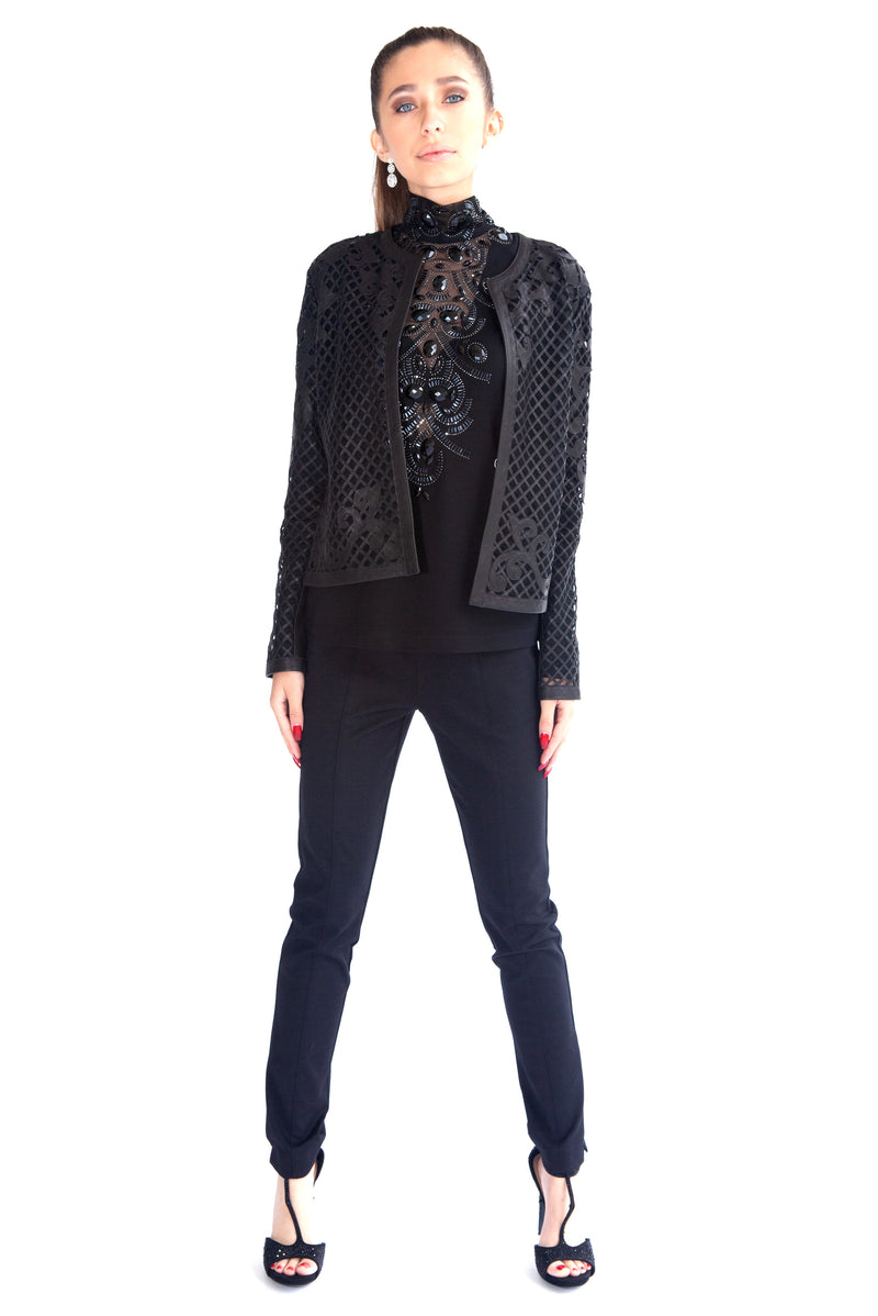 Criss Cross Baroque Leather Jacket - W2491008