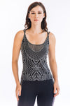 Crystal Pearl Mesh Sleeveless Mock Neck - W5491004