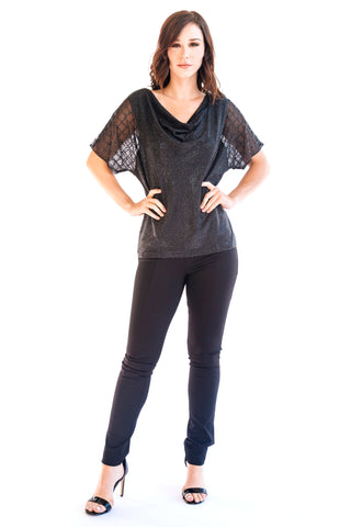 Embellished Mesh 3/4 Sleeve Top - w5471108