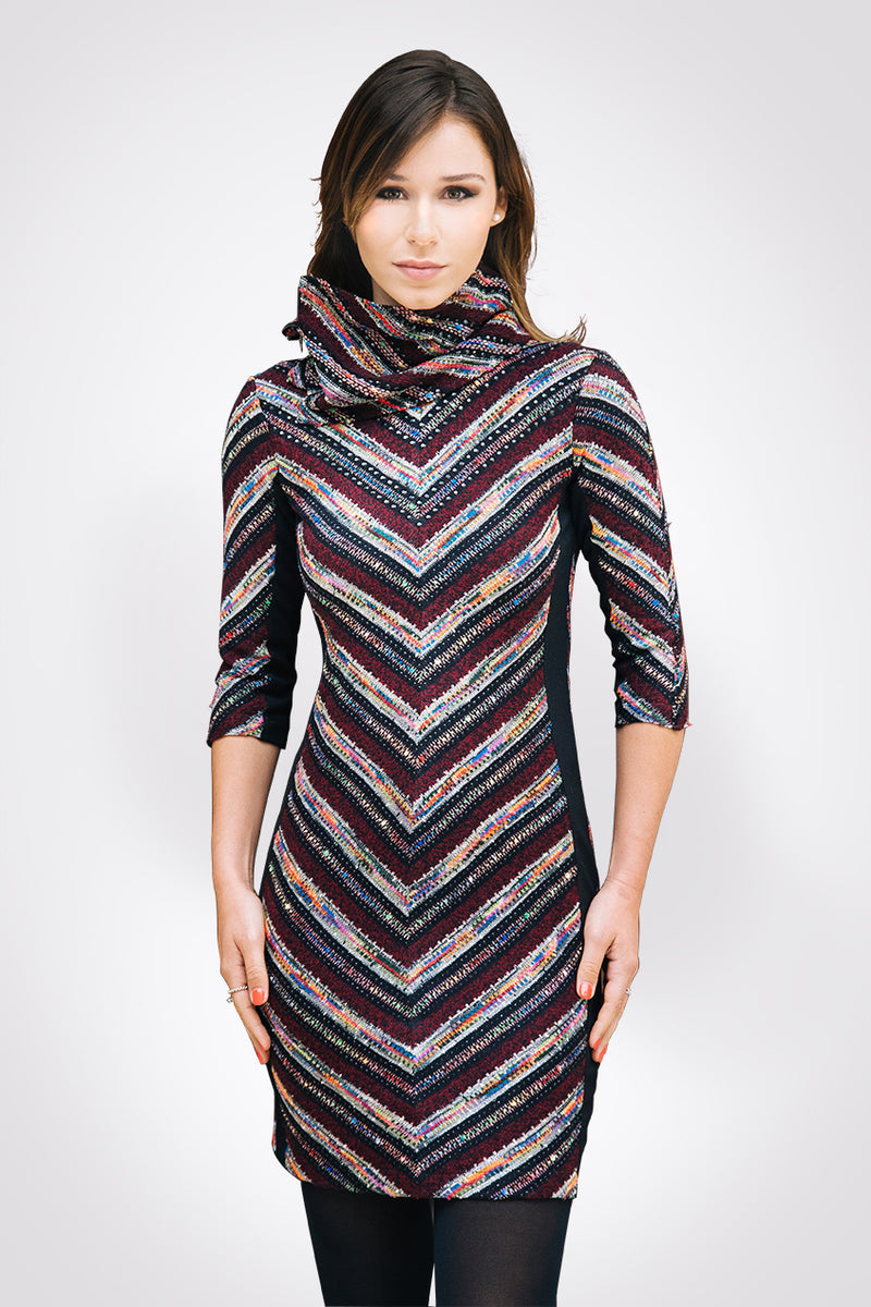 Embellished Tweed Chevron Dress  - W1460906
