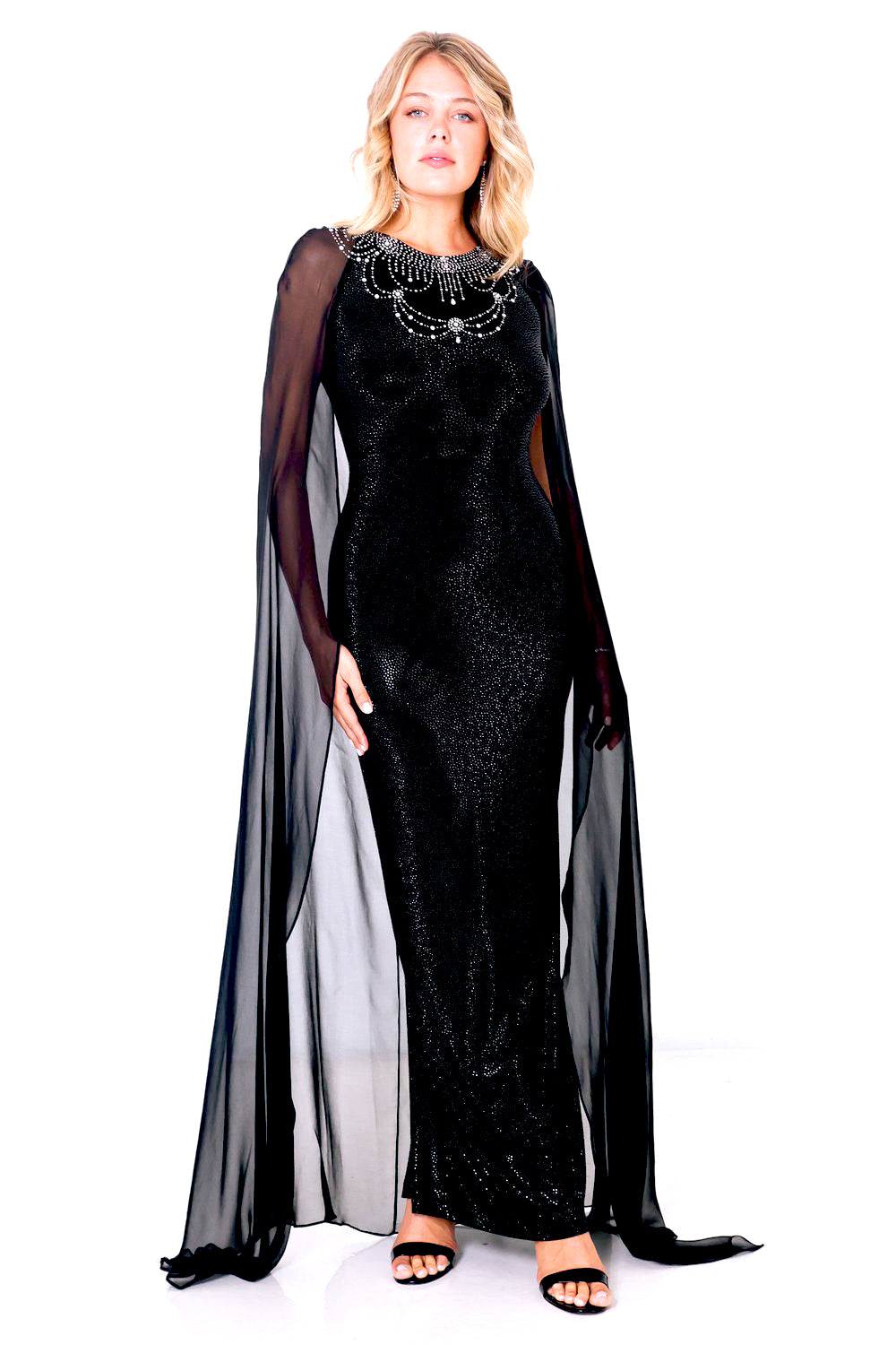 Stingray Chiffon Cape Gown - W1471103