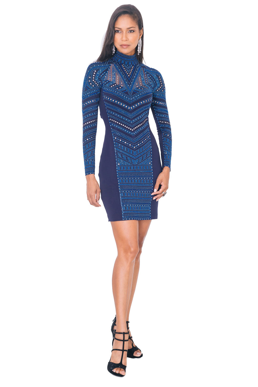 Multi Chevron Embellished Dress - W1480109