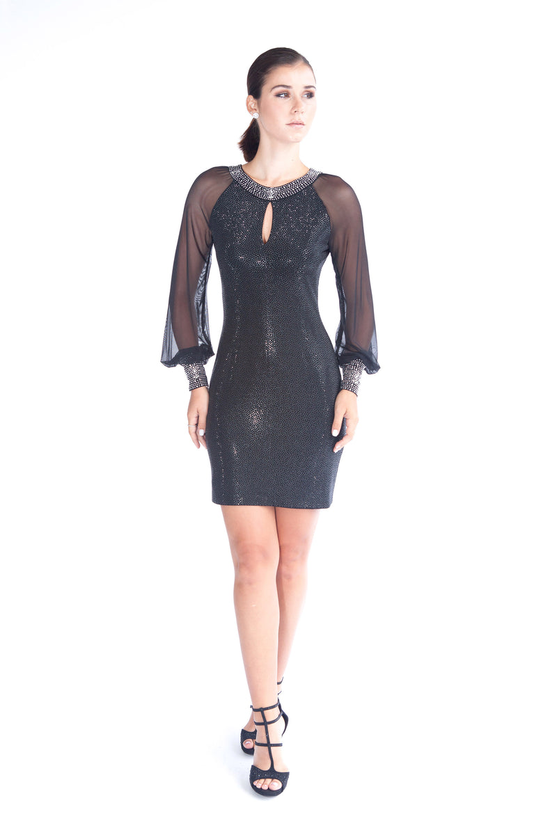 Stingray Jeweled Neck Mesh Sleeve Dress - W1491004