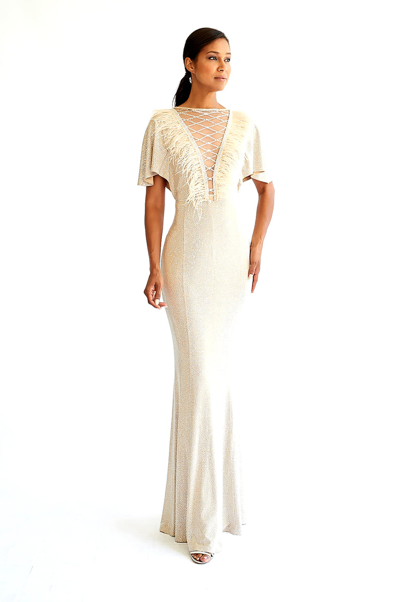 Crystal Feather Gown - W1491101