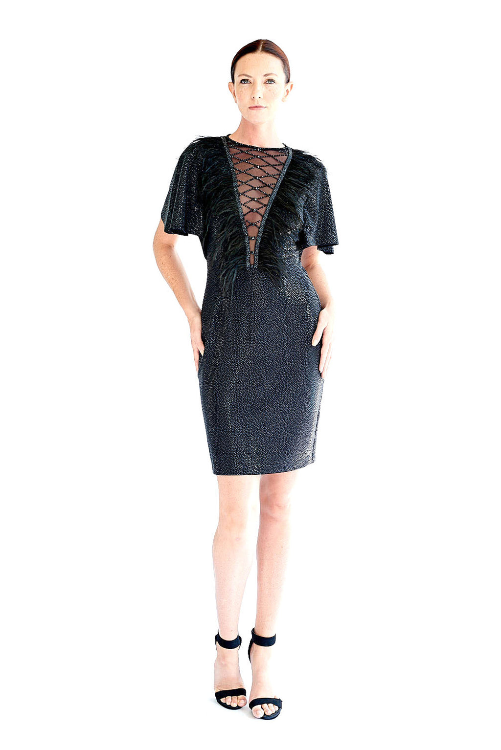 Deep V Neck Stingray Lattice Feather Cocktail - W1491105
