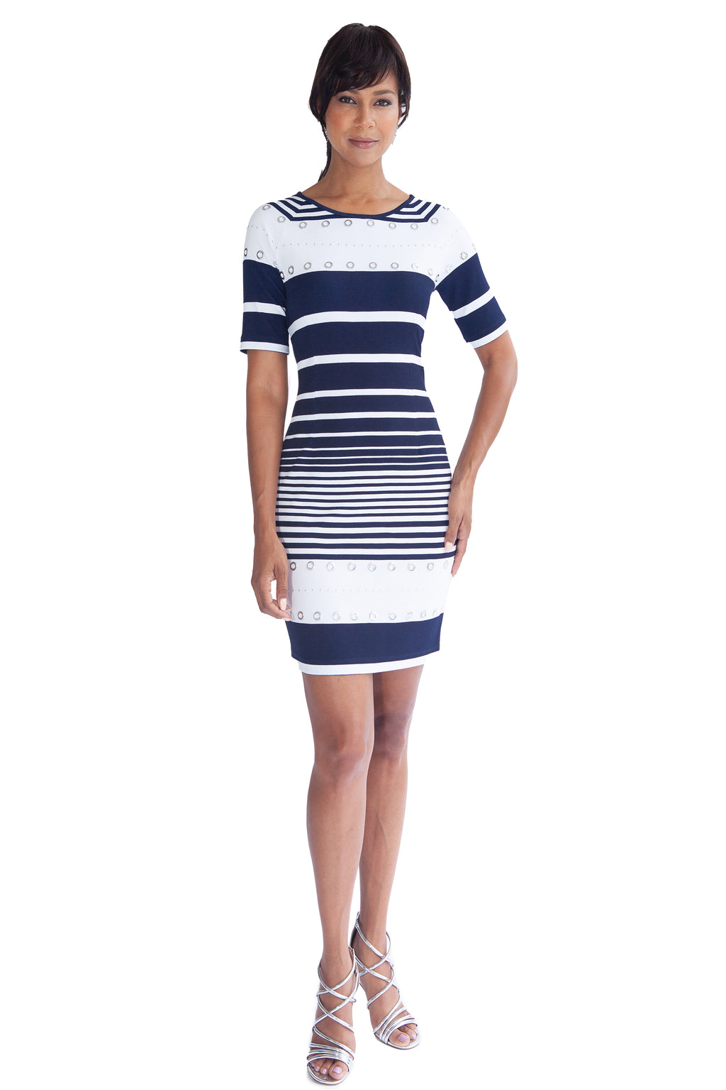 Grommet and Stripe Dress - W1500104