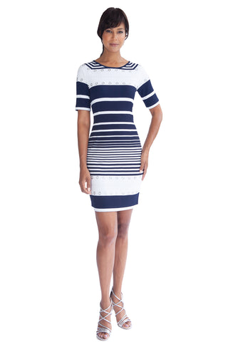 Stardust Ribbon Sleeveless Mock Neck Cocktail Dress - W1490901