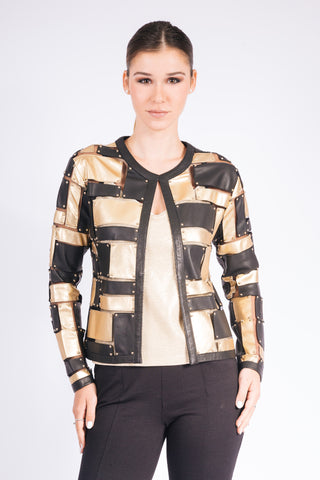 Heavy Metal Leather and Tulle Short Jacket - W2460902