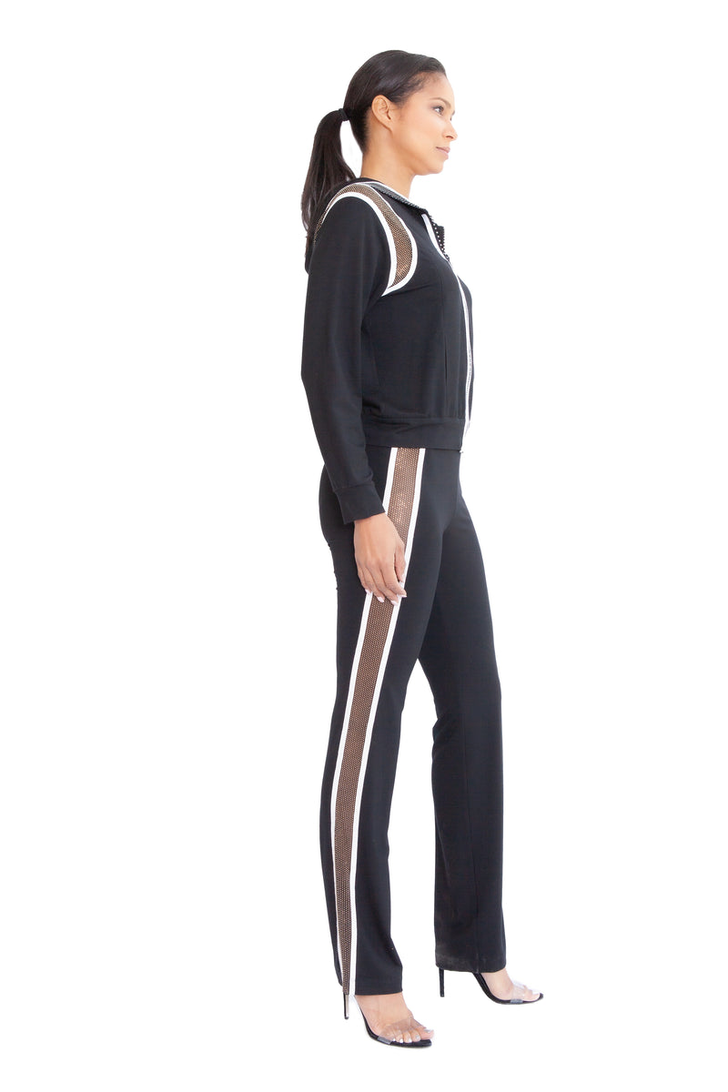 Pave Crystal Striped Slim Yoga Pant - W4500405