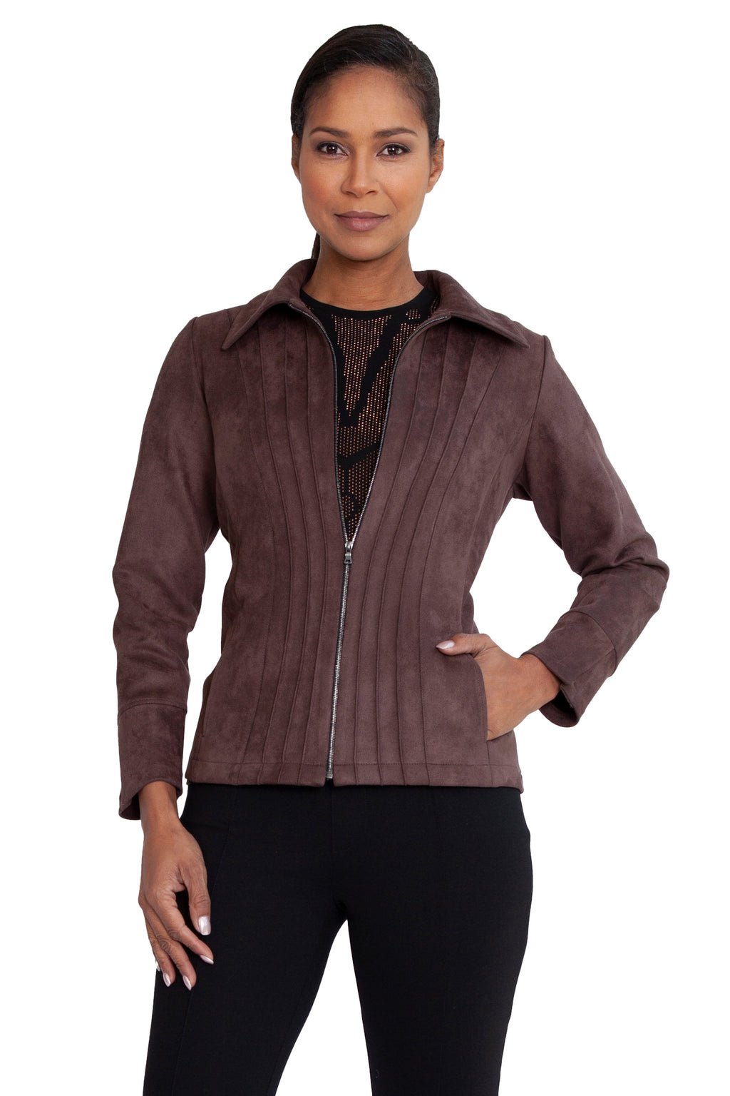 Faux Suede Corset Pintuck Jacket - W2500904