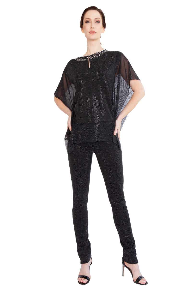 Black Diamond Mesh Poncho Top - W6500601