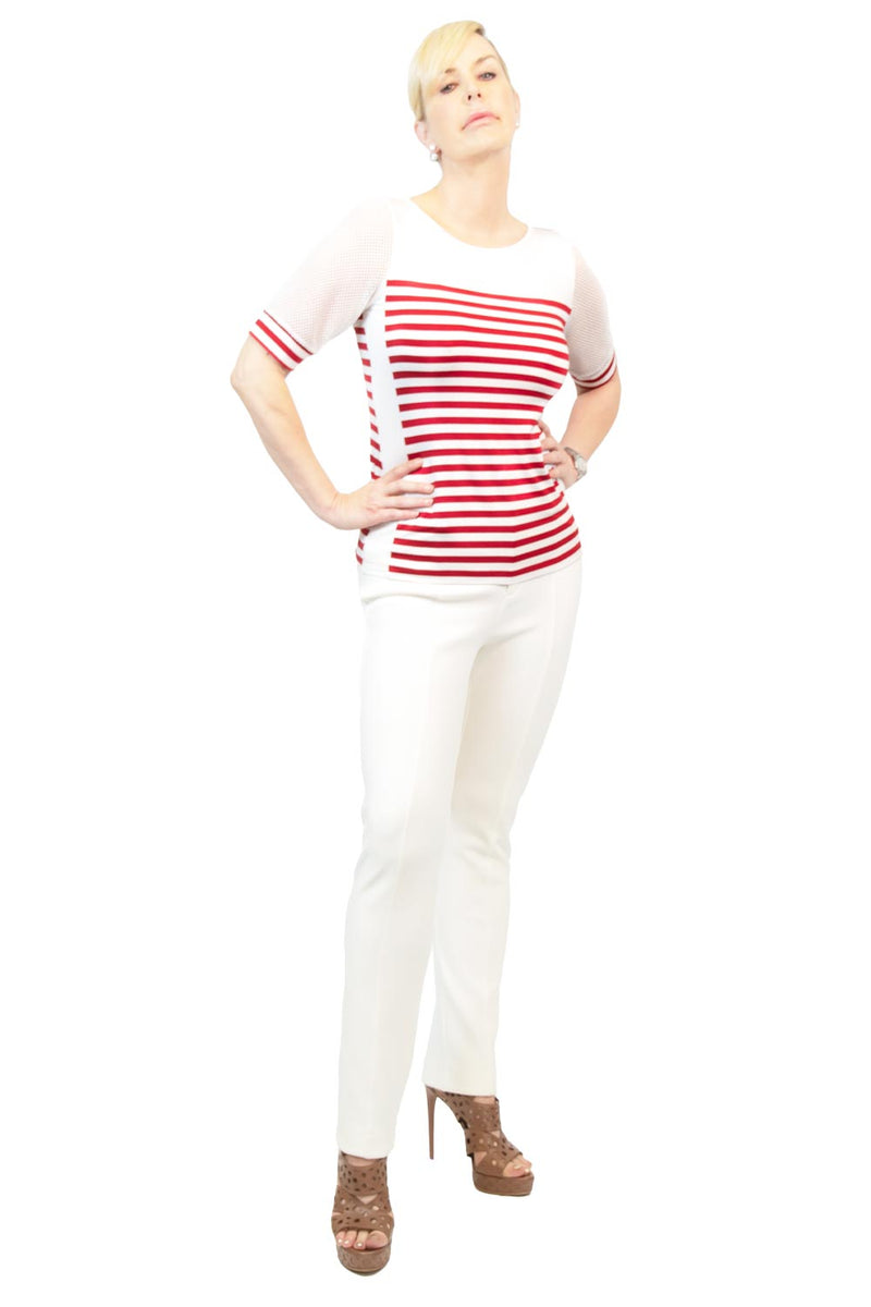 Americana Mesh Sleeved Striped Top - WL5500607