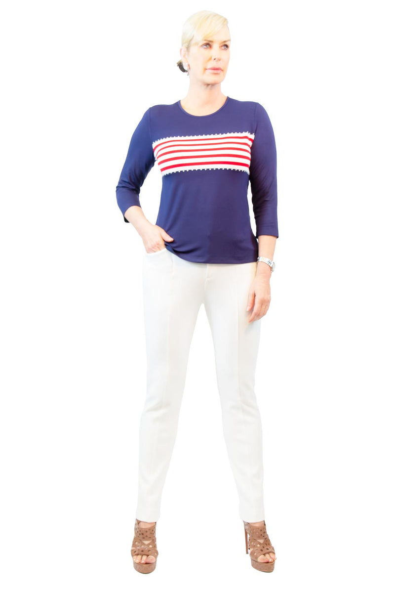 Americana Stripe 3/4 Sleeve Top - WL5500608