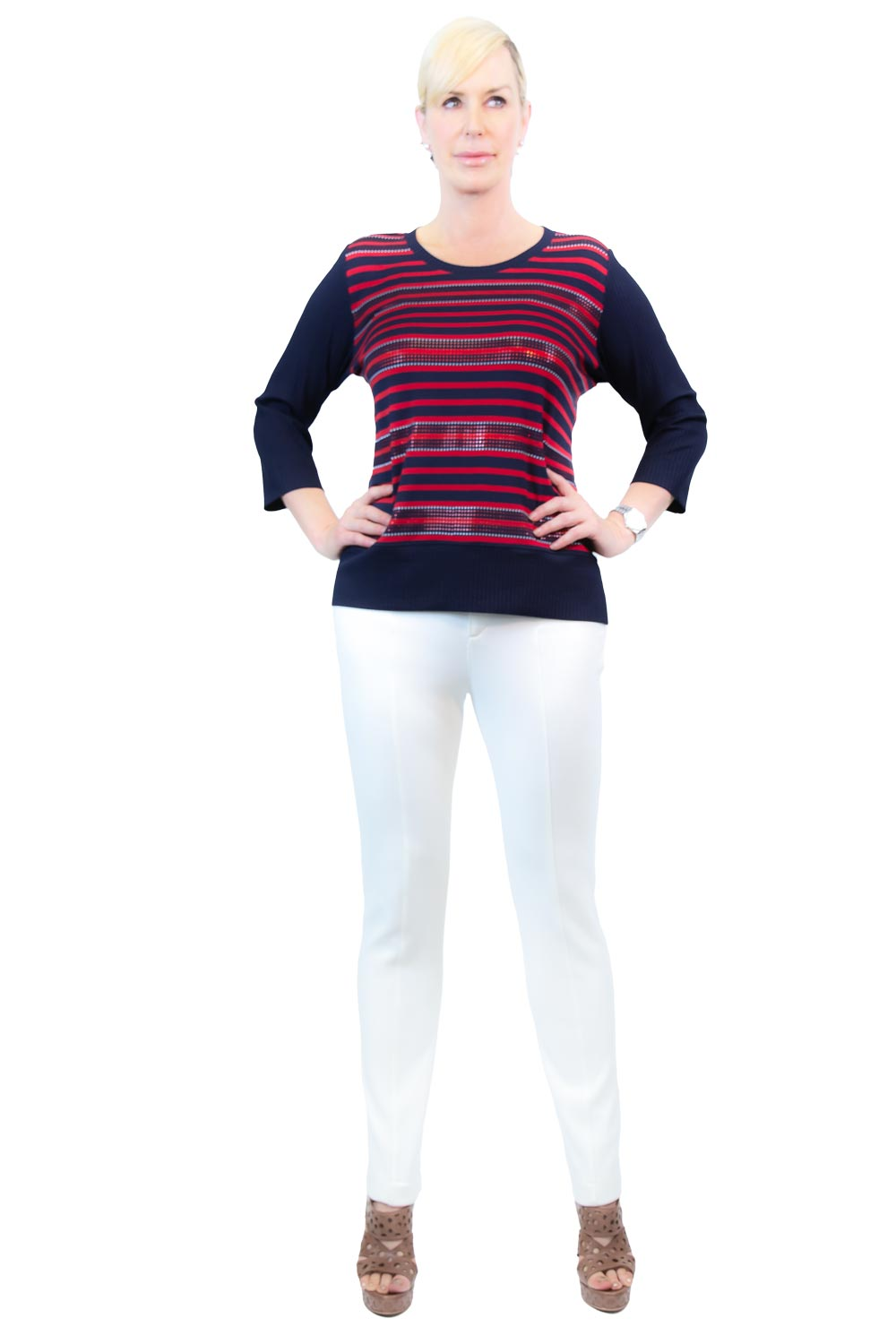 Striped Easy Wear Ribbed Top - WL5500609