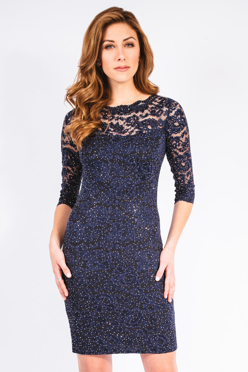 Stardust Lace Scallop Neck Dress - W1450206