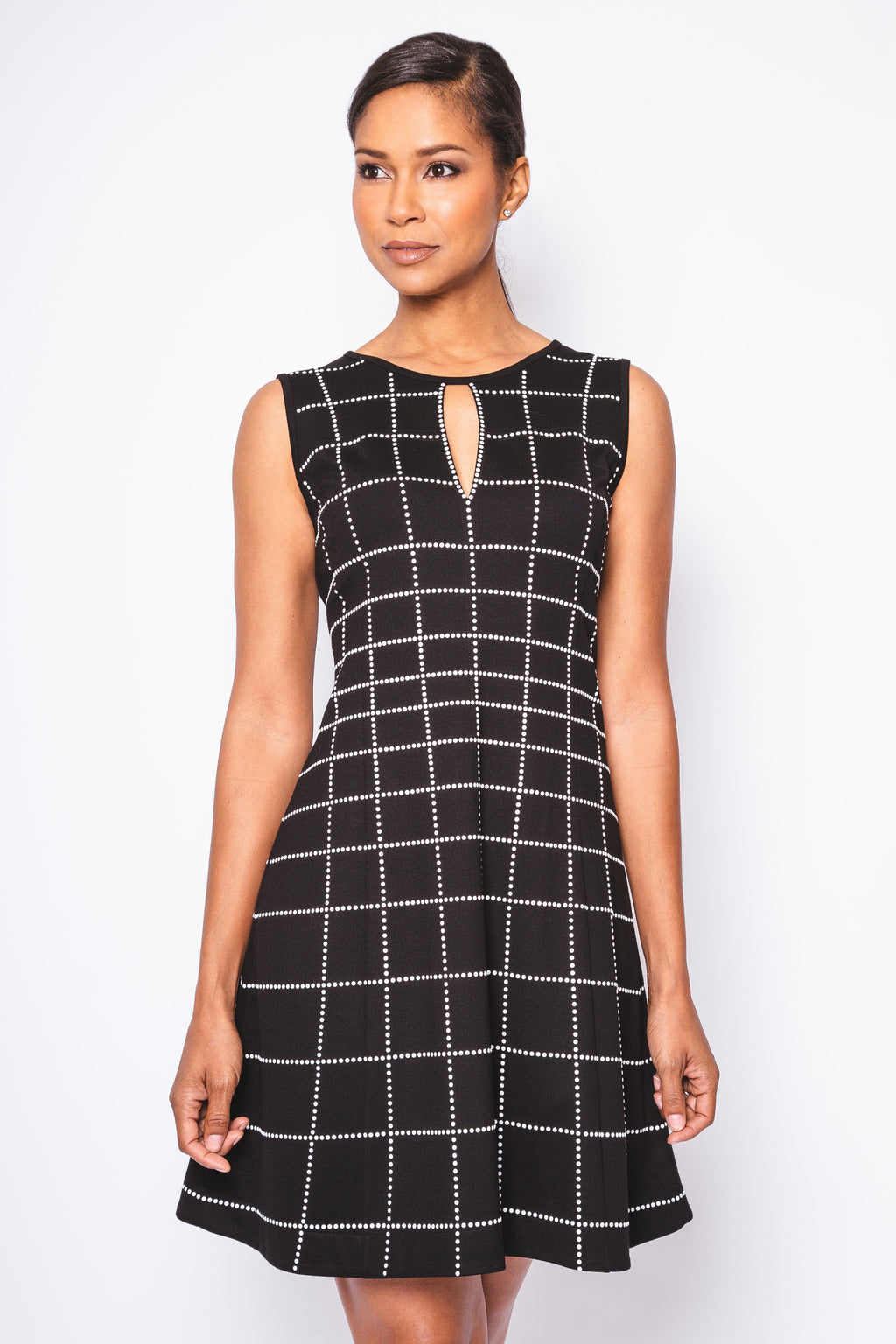 Embellished Grid A-Line Keyhole Dress - W1450314