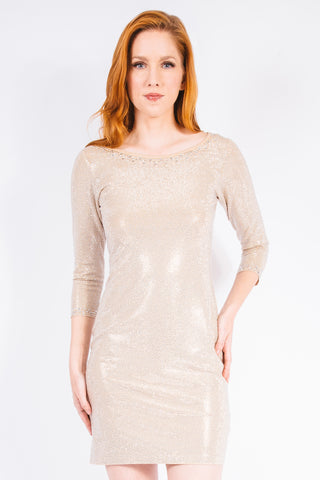 Diamond Pearl Sheer V-Neck Cocktail Dress - W1480307