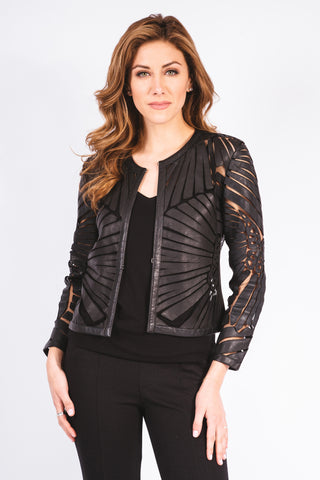 Box Stud Short Leather Jacket - W2431016