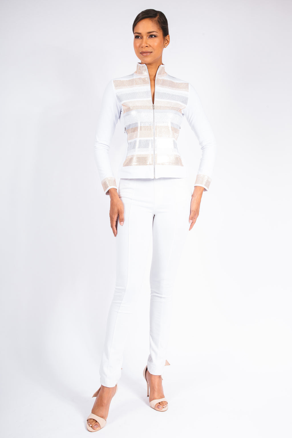 Ethereal Stripe Zip Scuba Jacket - W2450601