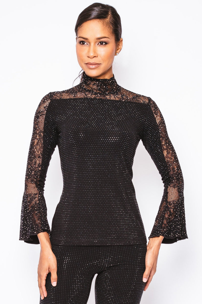Stardust Lace Sleeve Pave Mock Neck - W5460807
