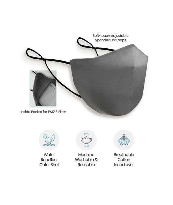 S-XXL Grey Canada Silver Clear Neck Gaiter face mask with nose wire filter water repellent